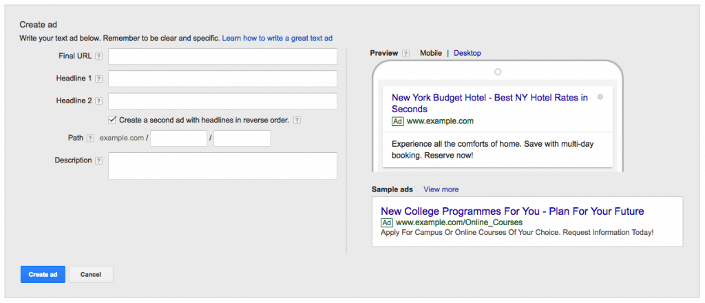 Write Adwords text ad